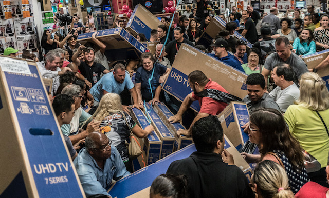 Shoppers fighting over Black Friday deals.