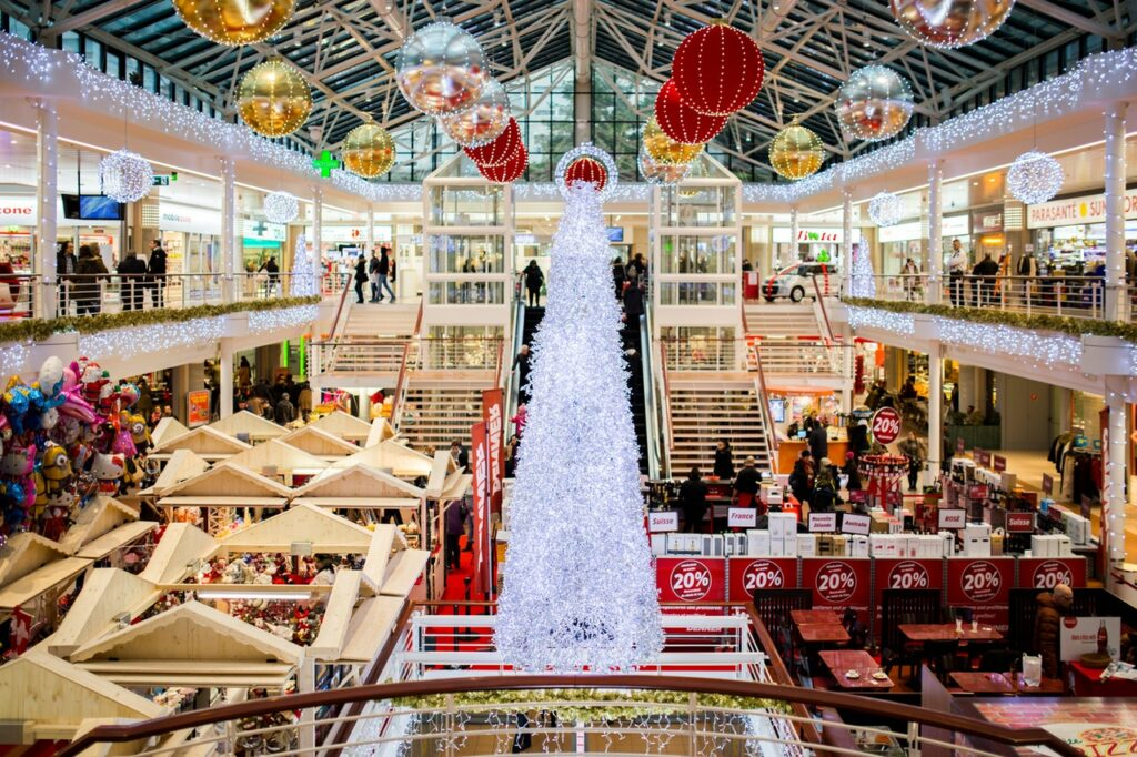 Shopping mall during Christmas time