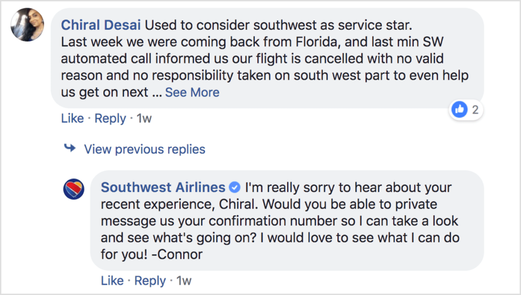 Southwest Airlines tweeting a customer