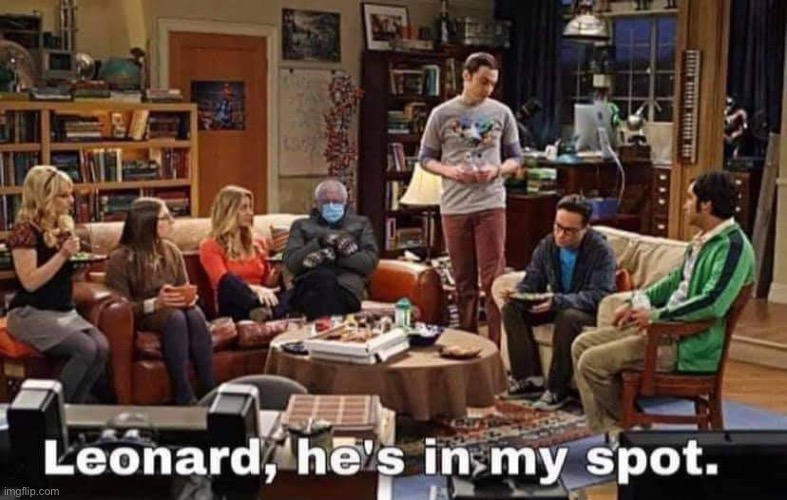 Meme with Bernie Sanders photoshopped in the Big Bang Theory.