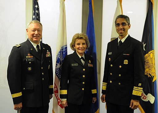 US Surgeon General Vivek Murthy with Army General Frank Grass and Admiral Joan Hunter.