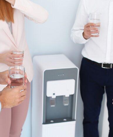Sharing good news at the water cooler