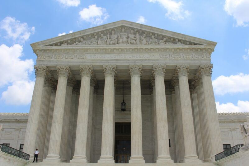 Exterior of Supreme Court. The justices agreed to hear a case challenging Roe v. Wade