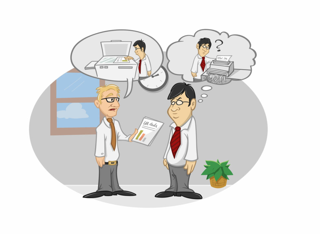 Misunderstanding of two colleagues in the workplace